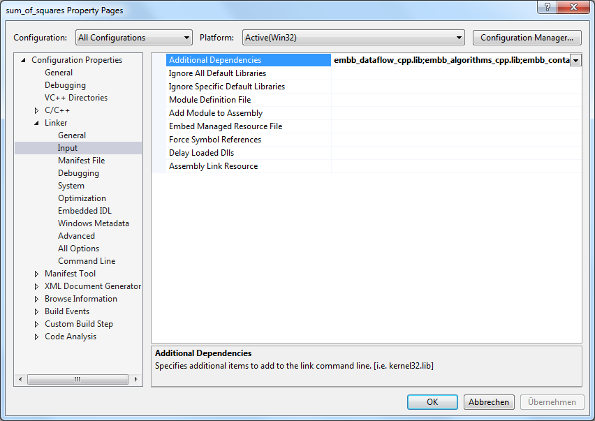 Visual Studio additional dependencies