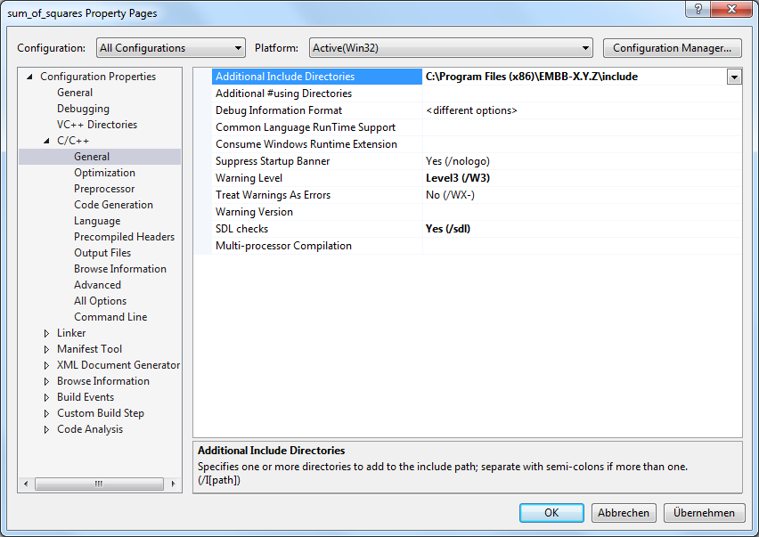 Visual Studio include directories