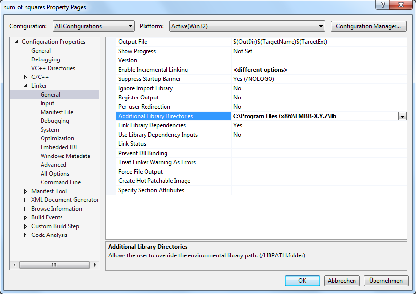 Visual Studio library directories