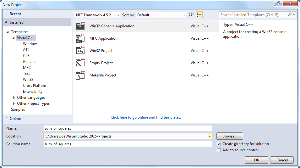 Visual Studio project creation